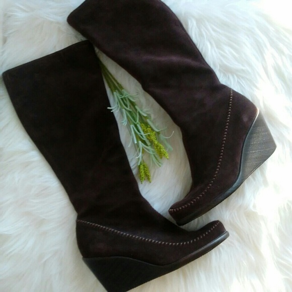 6fe27691dc09 AEROSOLES Shoes - Aerosoles Brown Suede Leather Wedge Tall Boots